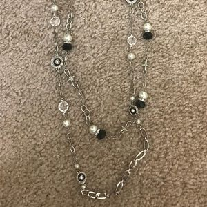 White House Black Market Silver and Black Necklace